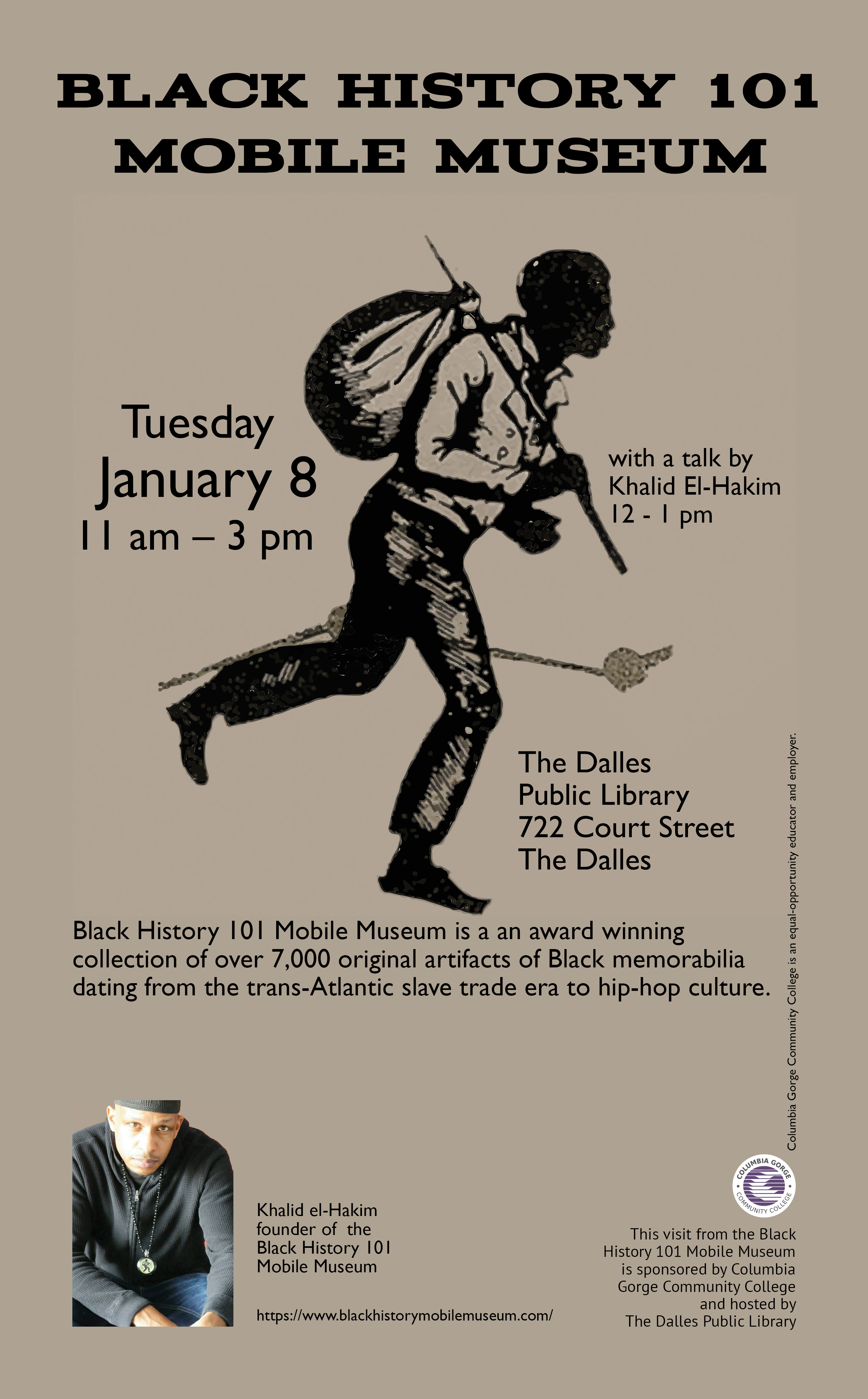 Black History 101 Mobile Museum poster, featuring the museum logo and photo of founder Khalid el-Hakim