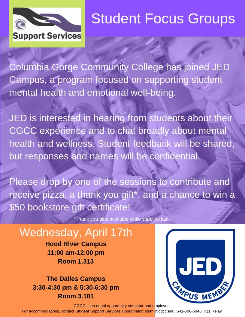 JED Campus Student Focus Groups | Columbia Gorge Community College